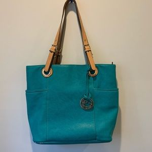 Large teal tote bag